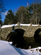 A stone double arched bridge which spans Beard Brook at the meeting of the Beard and Jones Road in Hillsborough, New Hampshire USA. Known as the Old Carr Bridge, built by Captain Jonathan Carr in 1840