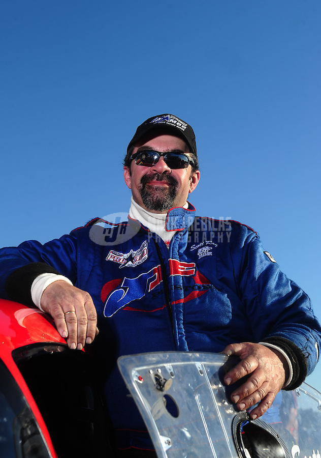 Mar. 12, 2011; Gainesville, FL, USA; NHRA pro mod driver Scott Ray during qualifying for the Gatornationals at Gainesville Raceway. Mandatory Credit: Mark J. Rebilas-.