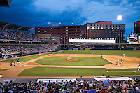 The Oklahoma City Dodgers played host to the Nashville Sounds in Pacific Coast League action at Chickasaw Bricktown Ballpark on June 12, 2015 in Oklahoma City, Oklahoma.  The Dodgers defeated the Sounds 11-7. (Andrew Woolley/Four Seam Images)