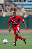Crystal Palace midfielder Larry Mark (16). The New England Revolution (MLS) defeated Crystal Palace FC USA of Baltimore (USL2) 5-3 in penalty kicks after finishing regulation and overtime tied at 1-1 during a Lamar Hunt US Open Cup quarterfinal match at Veterans Stadium in New Britain, CT, on July 8, 2008.