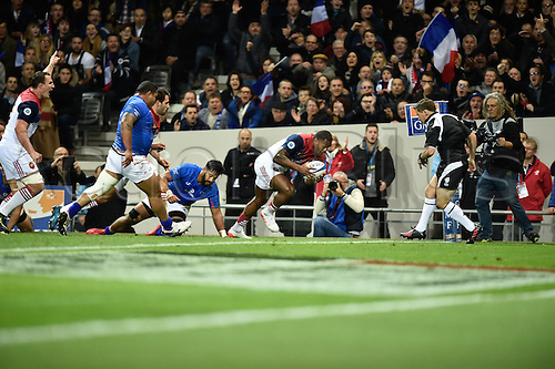 12.11.2016. Stadium Toulouse, Toulouse, France. Autumn International rugby match, France versus Samoa. Try scored by Virmi Vakatawa (fr)