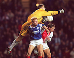 Erik Bo Andersen is beaten by Edwin Van der Sar and Ronald de Boear as Rangers take on Ajax at Ibrox
