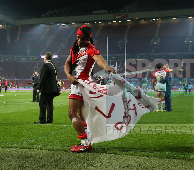 St Helens Sia Soliola celebrates- First Utility Super League Grand Final - St Helens v Wigan Warriors - Old Trafford Stadium - Manchester - England - 11th October 2014 - Pic Paul Currie/Sportimage