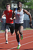 Denzel Williams of Middle Country, right, sprints to victory in the 100 meter race during a Suffolk County boys' track and field meet against host Connetquot High School on Thursday, May 14, 2015.<br /> <br /> James Escher