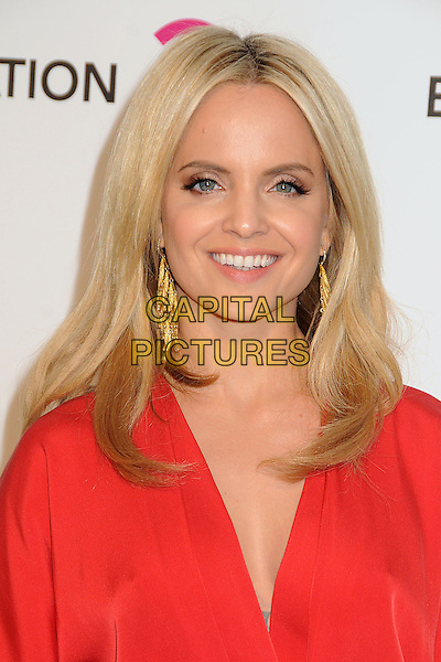 Mena Suvari.21st Annual Elton John Academy Awards Viewing Party held at West Hollywood Park, West Hollywood, California, USA..February 24th, 2013.oscars headshot portrait red  gold dangling earrings smiling .CAP/ADM/BP.©Byron Purvis/AdMedia/Capital Pictures.