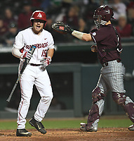 NWA Democrat-Gazette/ANDY SHUPE<br />Arkansas right fielder Jake Arledge strikes out against Mississippi State Friday, March 17, 2017, during the fifth inning at Baum Stadium in Fayetteville. Visit nwadg.com/photos to see more photographs from the game.