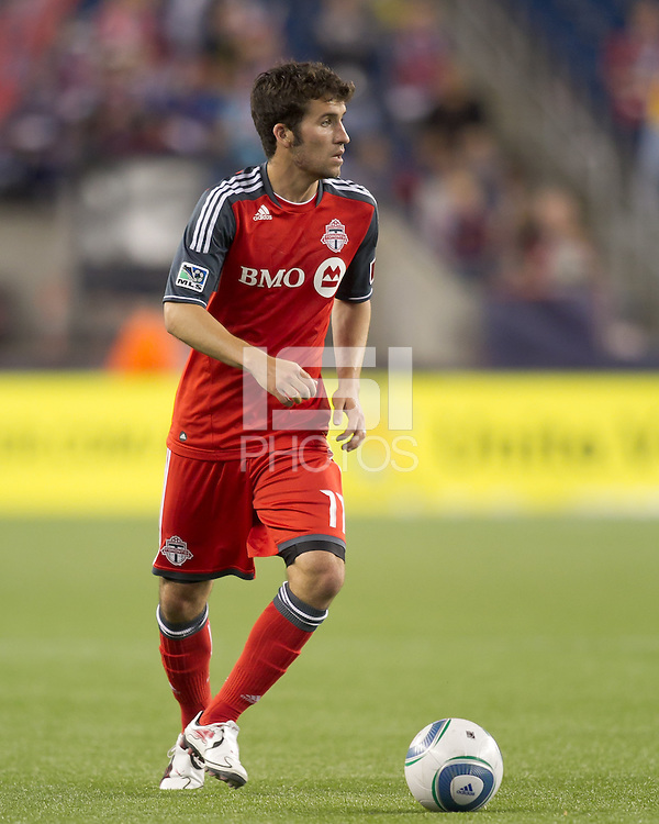 Toronto FC midfielder Nathan Sturgis (11) looks to pass. In a Major League Soccer (MLS) match, the New England Revolution tied Toronto FC, 0-0, at Gillette Stadium on June 15, 2011.