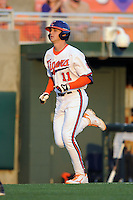 Clemson Tigers  designated hitter Shane Kennedy #11 rounds the bases after homering during a game against the Virginia Cavaliers  at Doug Kingsmore Stadium on March 15, 2013 in Clemson, South Carolina. The Cavaliers won 6-5.(Tony Farlow/Four Seam Images).