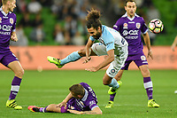 Melbourne, 23 April 2017 - OSAMA MALIK (6) of Melbourne City is fouled in the Elimination Final 2 of the A-League between Melbourne City and Perth Glory at AAMI Park, Melbourne, Australia. Perth won 2-0. Photo Sydney Low/sydlow.com