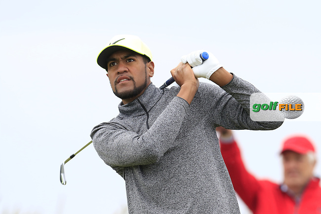 Tony Finau (USA) tees off the 3rd tee during Saturday's Round 3 of the 145th Open Championship held at Royal Troon Golf Club, Troon, Ayreshire, Scotland. 16th July 2016.<br /> Picture: Eoin Clarke | Golffile<br /> <br /> <br /> All photos usage must carry mandatory copyright credit (&copy; Golffile | Eoin Clarke)
