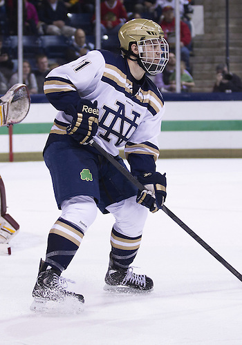 January 25, 2013:  Notre Dame left wing Jeff Costello (11) during NCAA Hockey game action between the Notre Dame Fighting Irish and the Ferris State Bulldogs at Compton Family Ice Arena in South Bend, Indiana.  Ferris State defeated Notre Dame 3-1.
