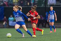 Allston, MA - Sunday, May 1, 2016:  Boston Breakers defender Rachel Wood (24), Portland Thorns FC defender Meg Morris (44) in a match at Jordan Field, Harvard University.
