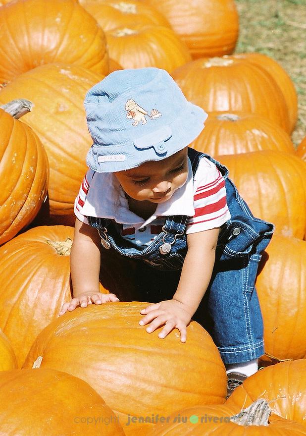 Model - Lael Akan Rivera, 1 year old. Pumpkin Patch at Medina, Texas.