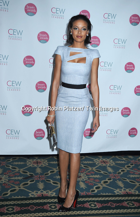 Selita Ebanks in Victoria Beckham gray dress posing for photographers at The 2010 Cosmetic Executive Women Beauty Awards on May 21, 2010 at The Waldorf Astoria Hotel in New York City.