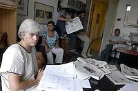 Roma, Via del Policlinico.La redazione del quotidiano Liberazione.Carla Cotti.Rome, Via del Policlinico.The daily newspaper Liberazione
