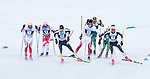 FRANCONIA, NH - MARCH 11:   The lead pack battles high winds and sub-zero temperatures during Men's 20K Freestyle event at the Division I Men's and Women's Skiing Championships held at Jackson Ski Touring on March 11, 2017 in Jackson, New Hampshire. (Photo by Gil Talbot/NCAA Photos via Getty Images)