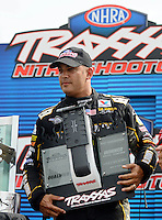 Sept. 1, 2012; Claremont, IN, USA: NHRA top fuel dragster driver Tony Schumacher (left) with Doug Kalitta during qualifying for the US Nationals at Lucas Oil Raceway. Mandatory Credit: Mark J. Rebilas-
