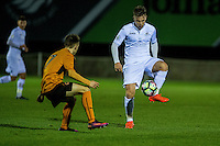 Friday  16 December 2014<br /> Pictured: Keiran Evans  of Swansea City in action <br /> Re: Swansea City U18s v Wolverhampton Wonderers U18s, 3rd Round FA youth Cup Match at the Landore Training Facility, Swansea, Wales, UK