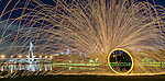 Steel wool spinning at Glebe park, Sydney, NSW, Australia.