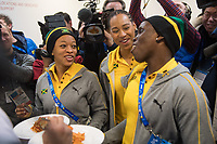 Audra Segree (l-r), Jazmine Fenlator-Victorian and Carrie Russel of the Jamaican women's bobsleigh team try Korean food at a press conference in the Alpensia centre prior to the Winter Olympics in Pyeongchang, South Korea, 9 February 2018. Photo: Tobias Hase/dpa /MediaPunch ***FOR USA ONLY***