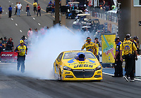 Jul. 18, 2014; Morrison, CO, USA; NHRA pro stock driver Jeg Coughlin Jr during qualifying for the Mile High Nationals at Bandimere Speedway. Mandatory Credit: Mark J. Rebilas-