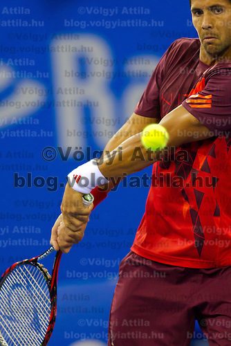 Fernando Verdasco from Spain plays an exhibition match against Gael Monfils (not pictured) from France during the Tennis Classics tournament in Budapest, Hungary on October 29, 2011. ATTILA VOLGYI