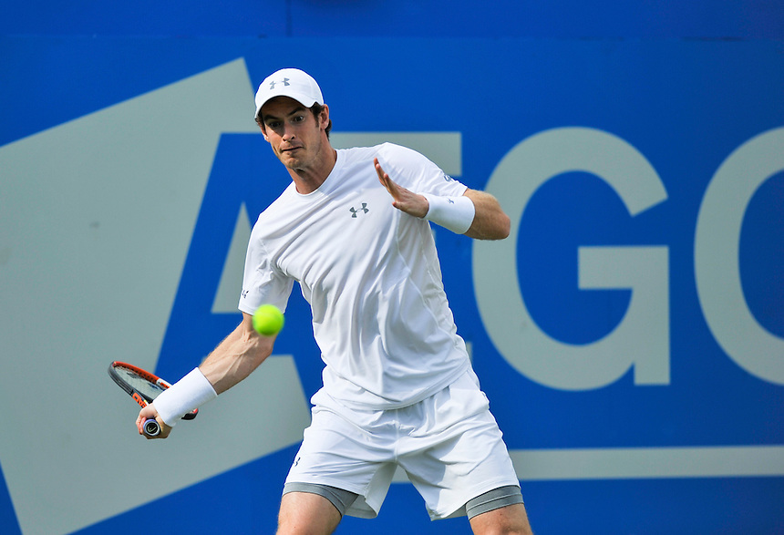 Andy Murray (GBR) in action today during his victory over Yen-Hsun Lu (TPE) in their Men&rsquo;s Singles Second Round match<br /> <br /> 6-4 7-5<br /> <br /> Photographer Ashley Western/CameraSport<br /> <br /> Tennis - ATP 500 World Tour - AEGON Championships- Day 2 - Tuesday 16th June 2015 - Queen's Club - London <br /> <br /> &copy; CameraSport - 43 Linden Ave. Countesthorpe. Leicester. England. LE8 5PG - Tel: +44 (0) 116 277 4147 - admin@camerasport.com - www.camerasport.com