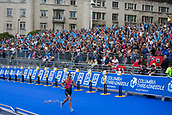 June 11th 2017, Leeds, Yorkshire, England; ITU World Triathlon Leeds 2017; Flora Duffy runs in front of the main grandstand as she finishes as the winner