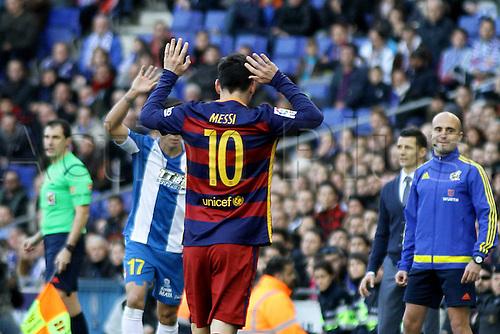 02.01.2016. Estadi Cornellà-El Prat, Barcelona, Spain. La Liga Football. Espanyol versus Barcelona.Messi during the match