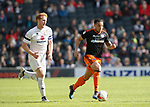 Samir Carruthers of Sheffield Utd  in a action with Dean Lewington of MK Dons during the English League One match at  Stadium MK, Milton Keynes. Picture date: April 22nd 2017. Pic credit should read: Simon Bellis/Sportimage