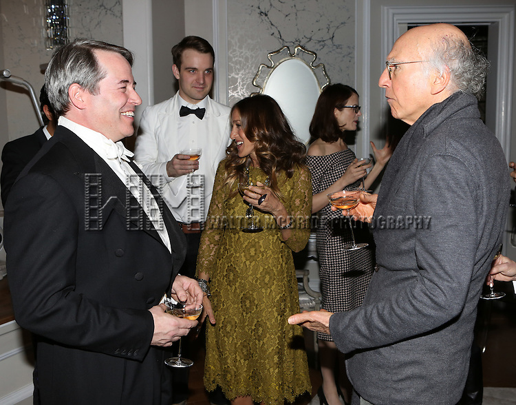 Matthew Broderick, Micah Stock, Sarah Jessica Parker and Larry David attend the re-opening night performance backstage reception for 'It's Only A Play' at the Bernard B. Jacobs Theatre on January 23, 2014 in New York City.