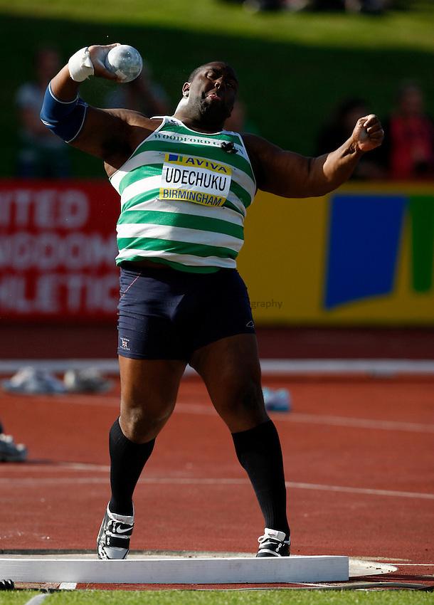 Photo: Richard Lane/Richard Lane Photography..Aviva World Trials & UK Championships athletics. 12/07/2009. Emeka Udechuku in the men's shot put.