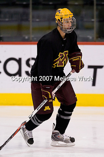 David Fischer (Minnesota 20) takes part in the Gophers' morning skate at the Xcel Energy Center in St. Paul, Minnesota, on Friday, October 12, 2007, during the Ice Breaker Invitational.