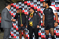 The pre-match coin toss during the 2017 Rugby League World Cup quarterfinal match between New Zealand Kiwis and Fiji at Wellington Regional Stadium in Wellington, New Zealand on Saturday, 18 November 2017. Photo: Dave Lintott / lintottphoto.co.nz