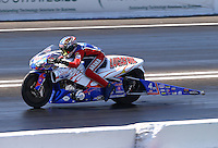 Jun. 1, 2013; Englishtown, NJ, USA: NHRA pro stock motorcycle rider Hector Arana Jr during qualifying for the Summer Nationals at Raceway Park. Mandatory Credit: Mark J. Rebilas-