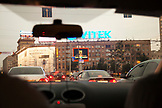 RUSSIA, Moscow. View of city from inside a taxi.