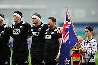 New Zealand U20 players look on prior to the anthems. World Rugby U20 Championship match between New Zealand U20 and Ireland U20 on June 11, 2016 at the Manchester City Academy Stadium in Manchester, England. Photo by: Patrick Khachfe / Onside Images