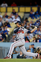 Andrelton Simmons #19 of the Atlanta Braves bats against the Los Angeles Dodgers at Dodger Stadium on June 6, 2013 in Los Angeles, California. (Larry Goren/Four Seam Images)