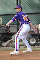 Pitcher Scott Firth #20 warms up in the bullpen during a  game against the Clemson Tigers at Doug Kingsmore Stadium on March 31, 2012 in Clemson, South Carolina. The Tigers won the game 3-1. (Tony Farlow/Four Seam Images).