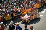 The publicity caravan passes by ahead of the race during Stage 6 of the 2018 Tour de France running 181km from Brest to Mur-de-Bretagne Guerledan, France. 12th July 2018. <br /> Picture: ASO/Bruno Bade | Cyclefile<br /> All photos usage must carry mandatory copyright credit (© Cyclefile | ASO/Bruno Bade)