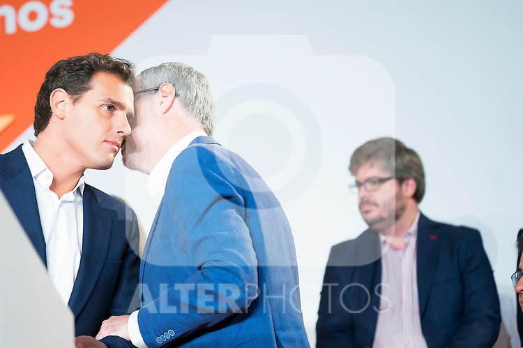 General Secretary of Ciudadanos Jose Manuel Villegas whispers something to President of Ciudadanos Albert Rivera during General Council. July 29, 2019. (ALTERPHOTOS/Francis González)