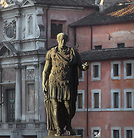 Gaius Julius Caesar, 100 BC - 44 BC, bronze patina statue, Forum, Rome, Italy. Picture by Manuel Cohen
