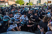 NEW YORK, NEW YORK - MAY 30: Protesters and police clash during the protest in response to the police officer who killed George Floyd in Brooklyn on May 30, 2020 in New York. The protests spread across the country in at least 30 cities in the United States. United States For the death of unarmed black man George Floyd at the hands of a police officer, this is the latest death in a series of police deaths of black Americans (Photo by Pablo Monsalve / VIEWpress via Getty Images)