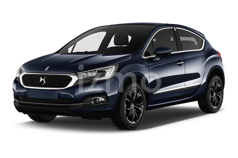 2016 Ds DS4 Opera-Blue 5 Door Hatchback Angular Front stock photos of front three quarter view