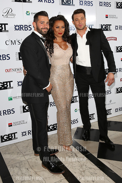 Mel B, Melanie Brown, Duncan James, Charlie King at The British LGBT Awards at the Grand Connaught Rooms, London.<br /> May 13, 2016  London, UK<br /> Picture: James Smith / Featureflash