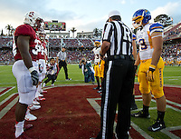 STANFORD, CA - April 14, 2012: Coin Toss for the Stanford Cardinal vs San Jose St. game at Stanford Stadium at Sanford, CA. Final score Stanford 20, San Jose St. 17..