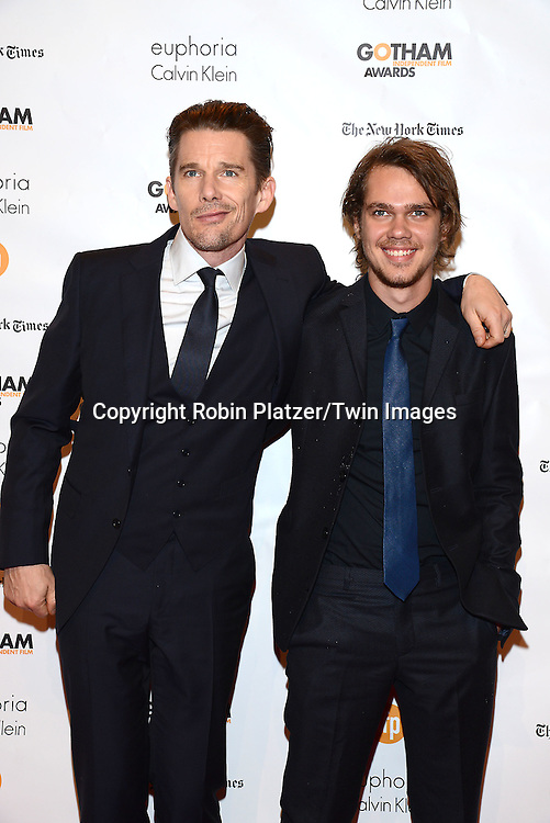 Ethan Hawke and Ellar Coltrane of &quot;Boyhead&quot; attends the 24th Annual Gotham Independent Film Awards on December 1, 2014 at Cipriani Wall Street in New York City, USA. <br /> <br /> photo by Robin Platzer/Twin Images<br />  <br /> phone number 212-935-0770
