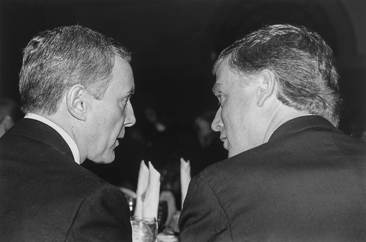 Sen. Orrin Hatch, R-Utah, and Former Vice President Dan Quayle, at the tribute to Bob Michel in deep conversation, on March 8, 1994. (Photo by Maureen Keating/CQ Roll Call via Getty Images)