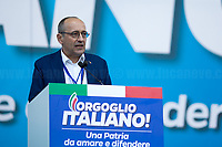 """Alberto Bagnai MP (Economist, Senator of Lega / League).<br /> <br /> Rome, 19/10/2019. Today, tens thousands of people (200,000 for the organisers, 50,000 for the police) gathered in Piazza San Giovanni to attend the national demonstration """"Orgoglio Italiano"""" (Italian Pride) of the far-right party Lega (League) of Matteo Salvini. The demonstration was supported by Silvio Berlusconi's party Forza Italia and Giorgia Meloni's party Fratelli d'Italia (Brothers of Italy, right-wing).  <br /> The aim of the rally was to protest against the Italian coalition Government (AKA Governo Conte II, Conte's Second Government, Governo Giallo-Rosso, 1.) lead by Professor Giuseppe Conte. The 66th Government of Italy is a coalition between Five Star Movement (M5S, 2.), Democratic Party (PD – Center Left, 3.), and Liberi e Uguali (LeU – Left, 4.), these last two parties replaced Lega / League as new members of a coalition based on Parliamentarian majority as stated in the Italian Constitution. The Governo Conte I (Conte's First Government, 5.) was 14-month-old when, between 8 and 9 of August 2019, collapsed after the Interior Minister Matteo Salvini withdrew his euroskeptic, anti-migrant, right-wing Lega / League (6.) from the populist coalition in a pindaric attempt (miserably failed) to trigger a snap election.<br /> <br /> Footnotes & Links:<br /> 1. http://bit.do/feK6N<br /> 2. http://bit.do/e7JLx<br /> 3. http://bit.do/e7JKy<br /> 4. http://bit.do/e7JMP<br /> 5. http://bit.do/e7JH7<br /> 6. http://bit.do/eE7Ey<br /> https://www.leganord.org<br /> http://bit.do/feK9X (Source, TheGuardian.com)<br /> Reportage: """"La Fabbrica Della Paura"""" (The Factory of Fear): http://bit.do/feLcy (Source Report, Rai.it - ITA)<br /> (Update) Reportage: """"La Fabbrica Social Della Paura"""" (The Social Network Factory of Fear): http://bit.do/fe8Pn (Source Report, Rai.it - ITA)"""