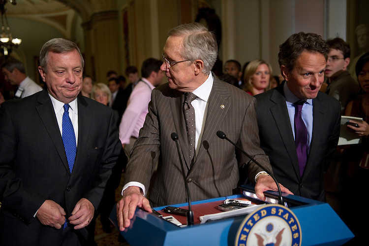 WASHINGTON, DC - July 14: Senate Assistant Majority Leader Richard J. Durbin, D-Ill., Senate Majority Leader Harry Reid, D-Nev., and Treasury Secretary Timothy F. Geithner during a news conference at the U.S. Capitol after the Senate Democratic caucus lunch meeting on debt limit negotiations. (Photo by Scott J. Ferrell/Congressional Quarterly)